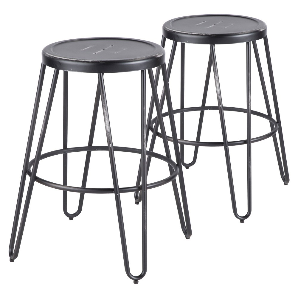 Avery Industrial Metal Counter Stool Vintage Black - Lumisource