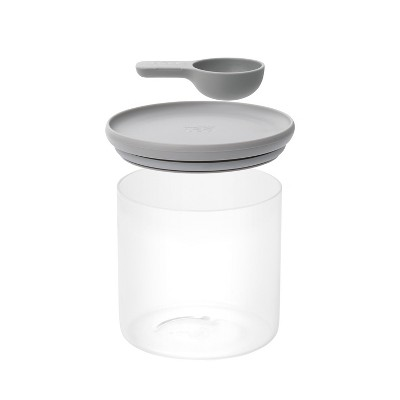 """BergHOFF Leo 5"""" Glass Food Container with Spoon, Grey"""