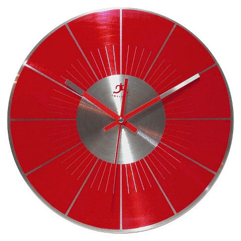 The Spangler Round Wall Clock Red/Silver - Infinity Instruments® - image 1 of 2