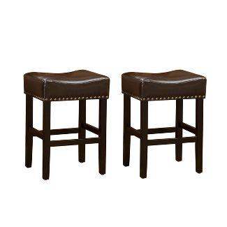 Laramie Set of 2 Backless Barstool Chocolate Brown - Christopher Knight Home