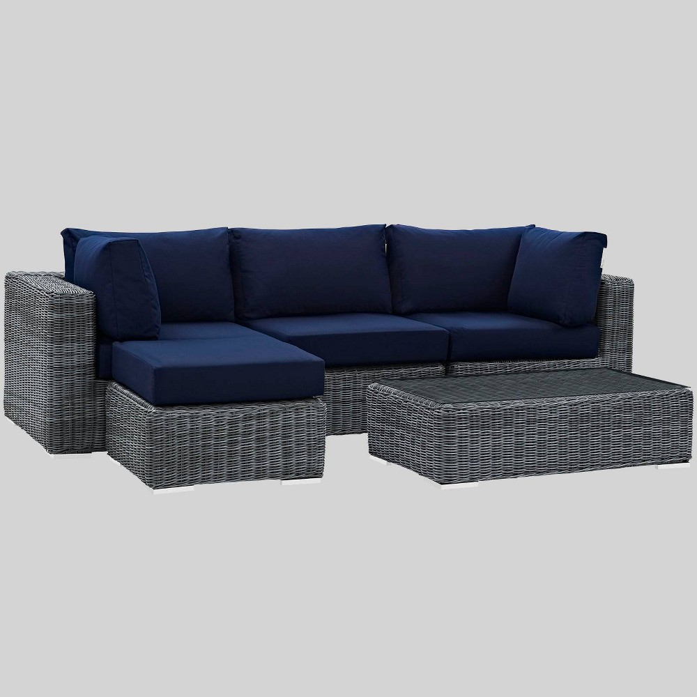 Summon 5pc Outdoor Patio Sectional Set with Sunbrella Fabric - Navy (Blue) - Modway