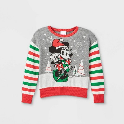 Toddler Girls' Minnie Mouse Ugly Christmas Pullover - Gray