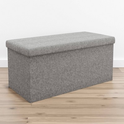Foldable Rectangle Storage Ottoman with Channel Tufting Gray Linen - Brookside Home