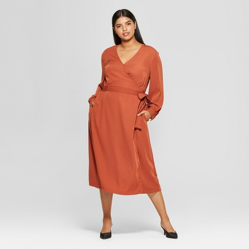 Womens Plus Size Long Sleeve Wrap Midi Dress Who What Wear Spice