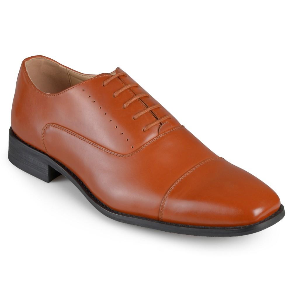 Men's Vance Co. Asher Faux Leather Cap Toe Lace-up Dress Shoes - Tan 8.5