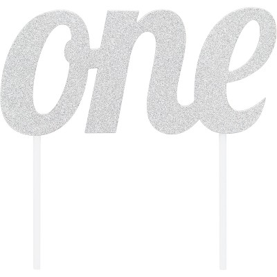 "Silver ""One"" Cake Topper"
