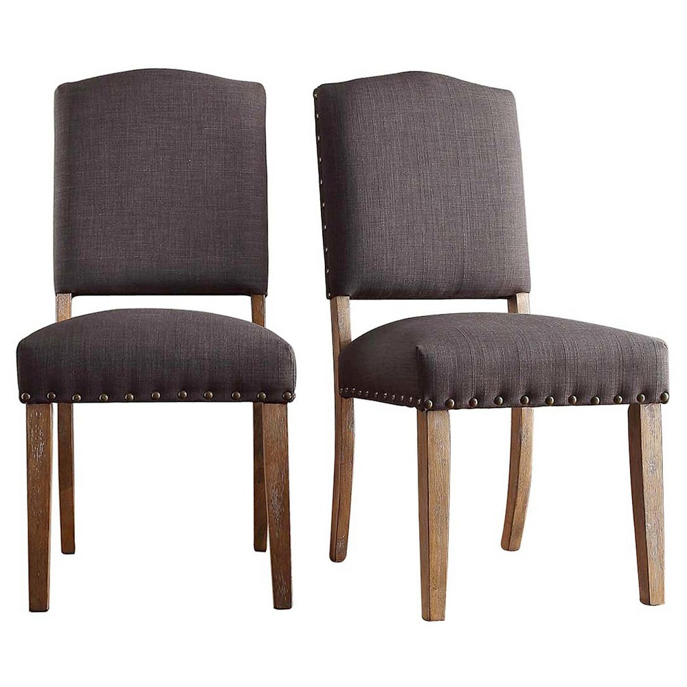 Cobble Hill Nailhead Accent Dining Chair Wood/Charcoal (Set of 2) - Inspire Q, Charcoal Heather