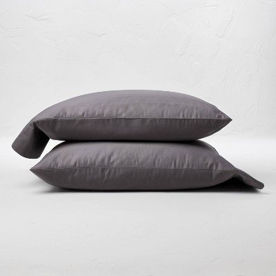 King 300 Thread Count Temperature Regulating Solid Pillowcase Set Dark Gray - Casaluna™