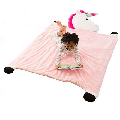 HearthSong Jumbo Plush Fantasy Snuggle Mat with Attached Pillow, Unicorn
