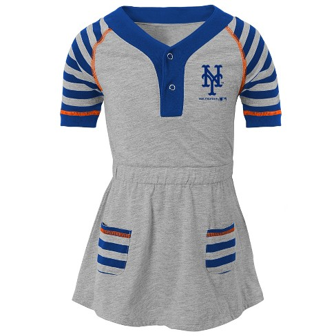 new arrival 34b5b 66333 New York Mets Girls' Striped Gray Infant/Toddler Dress - 3T