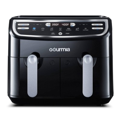 Gourmia 9-Quart Dual Basket Digital Air Fryer, with 7 Functions, Smart Finish and Match Cook