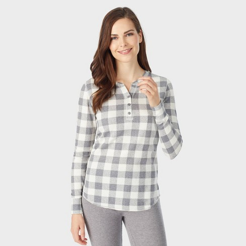 Warm Essentials by Cuddl Duds Women's Waffle Long Sleeve Henley Thermal Top - Graphite/Ivory Buffalo Check - image 1 of 3