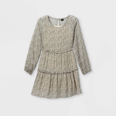 Girls' Long Sleeve Woven Tiered Dress - art class™