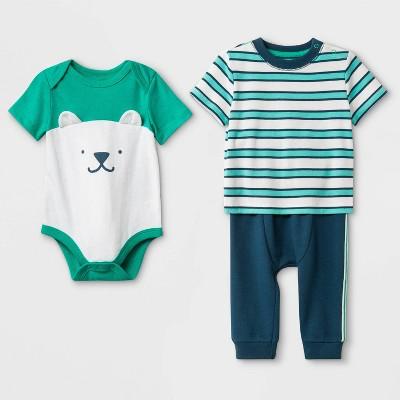 Baby Boys' T-Shirt, Bodysuit and Bottom Set - Cat & Jack™ Blue/Green/White 0-3M