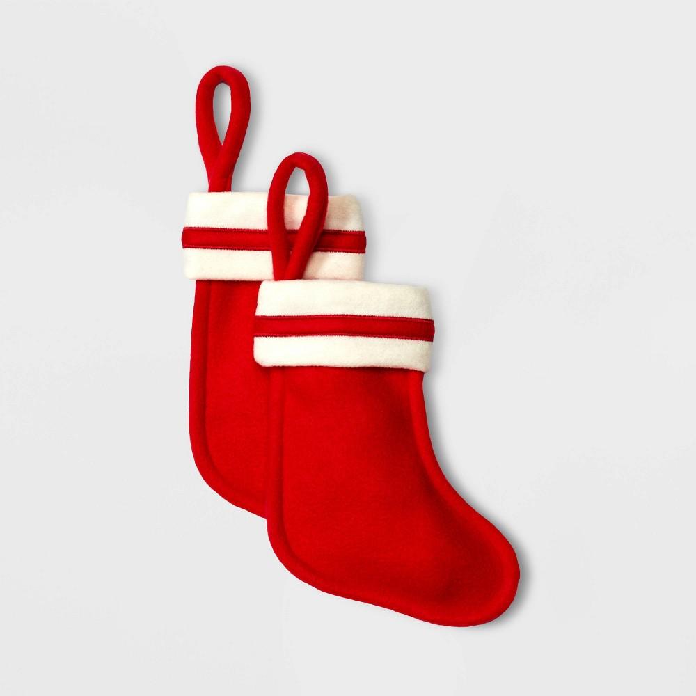 Image of 2ct Mini Felt Christmas Stocking Red - Wondershop