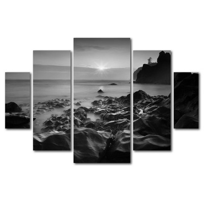 5pc Sunset At Ruby Beach by Moises Levy - Trademark Fine Art