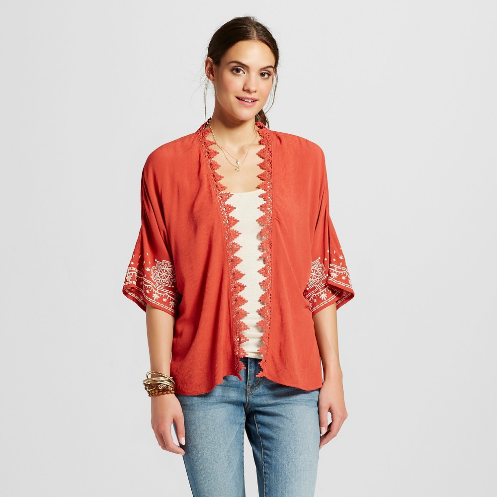 Women's Solid Kimono with Embroidery - Xhilaration Coral XL, Red