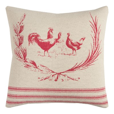 """20""""x20"""" Rooster Throw Pillow - Rizzy Home"""