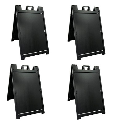 Plasticade 140NSBKBOXED Signicade Deluxe A-Frame Sidewalk Curb Sign Portable Folding Double-Sided Display with Quick-Change System, Black (4 Pack)
