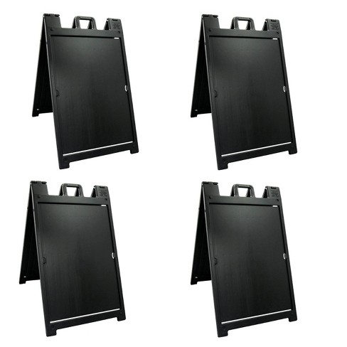Plasticade 140NSBKBOXED Signicade Deluxe A-Frame Sidewalk Curb Sign Portable Folding Double-Sided Display with Quick-Change System, Black (4 Pack) - image 1 of 3