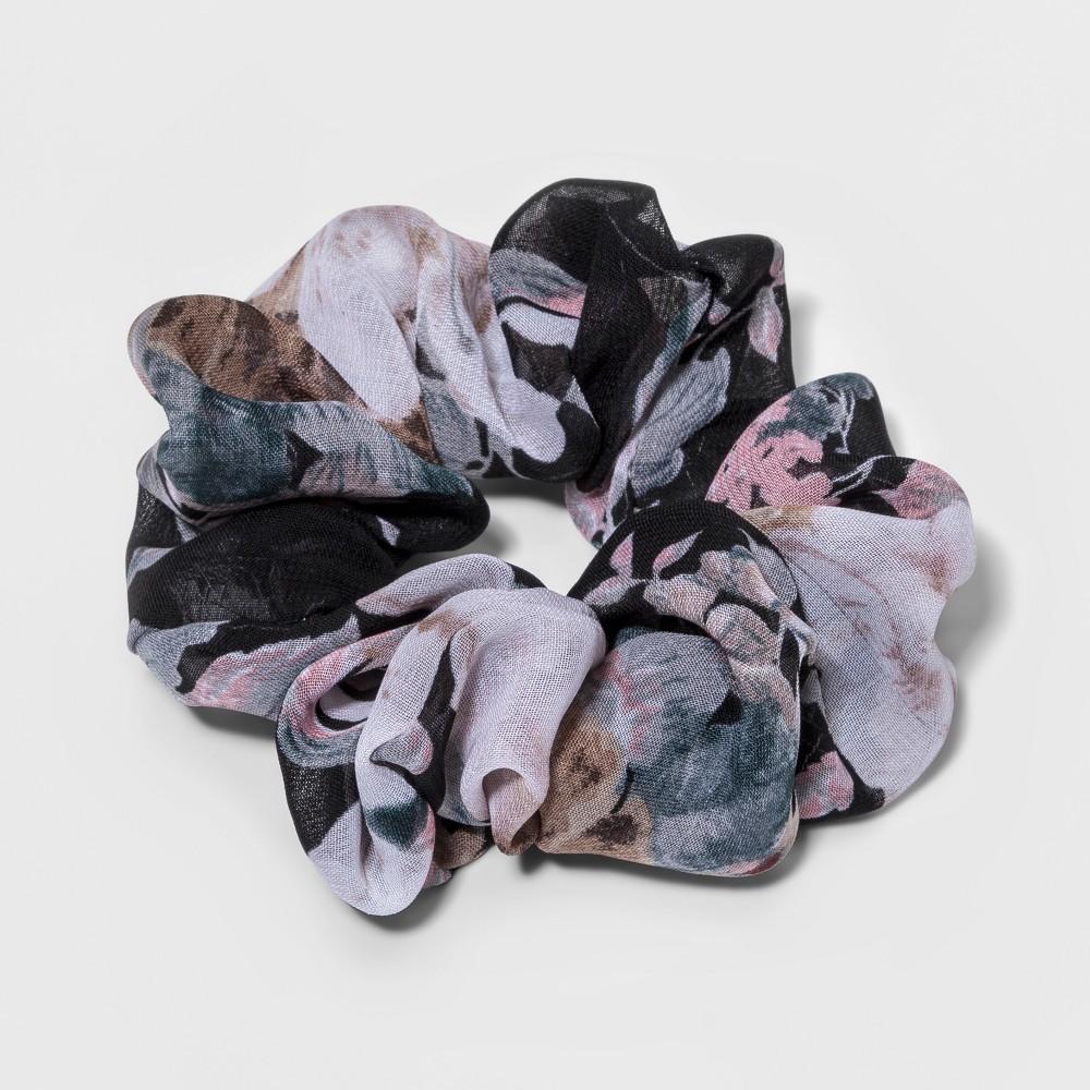 Fashion Scrunchie Floral Print Hair elastics - Black