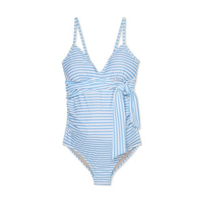 Maternity Striped Front-Tie One Piece Swimsuit - Isabel Maternity by Ingrid & Isabel™ Blue/White
