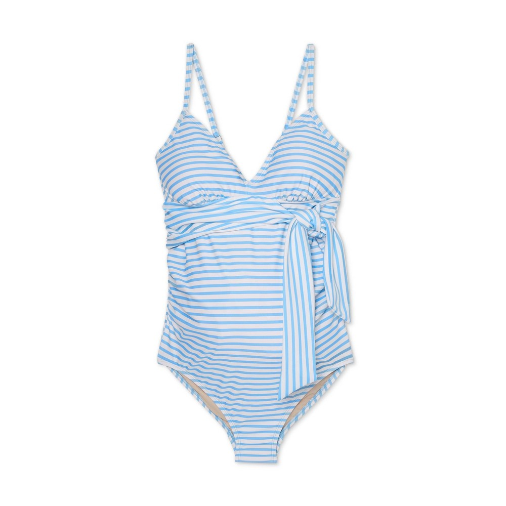 Maternity Striped Front Tie One Piece Swimsuit Isabel Maternity By Ingrid 38 Isabel 8482 Blue White Xl