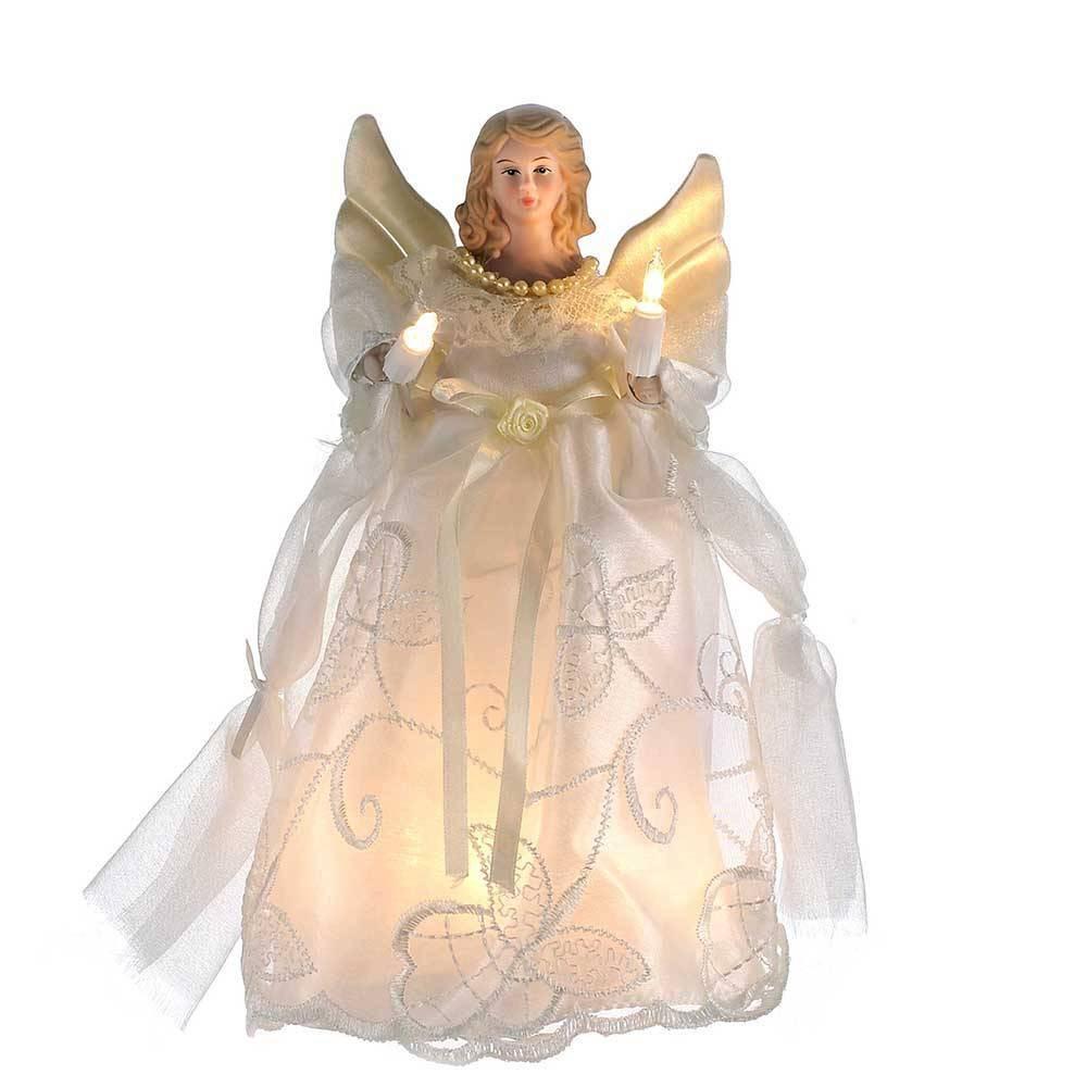 """Image of """"10"""""""" Kurt Adler 10 Light Angel Tree Topper Gold and Ivory"""""""