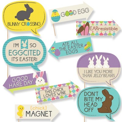Big Dot of Happiness Funny Hippity Hoppity - Easter Party Photo Booth Props Kit - 10 Piece