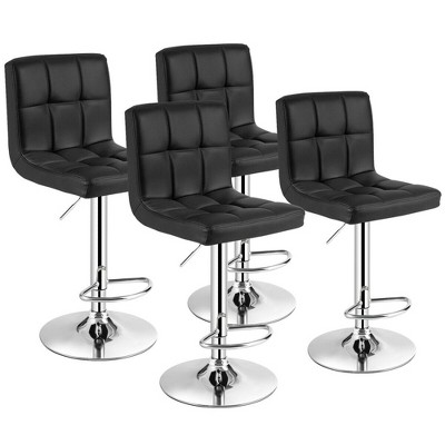 Costway Set of 4 PU Leather Bar Stool Swivel Bar Chair w/ Adjustable Height Black/Brown/Red/White