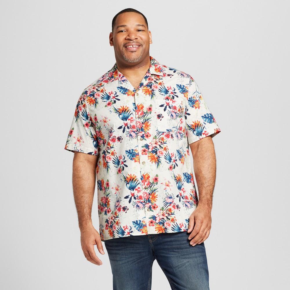 Men's Big & Tall Floral Print Short Sleeve Button-Up Camp Shirt - Goodfellow & Co Sunbeam Pink 3XB