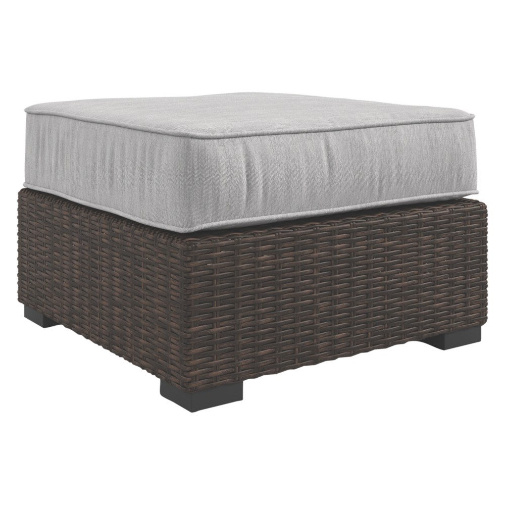 Image of Alta Grande Ottoman with Cushion - Beige/Brown - Outdoor by Ashley