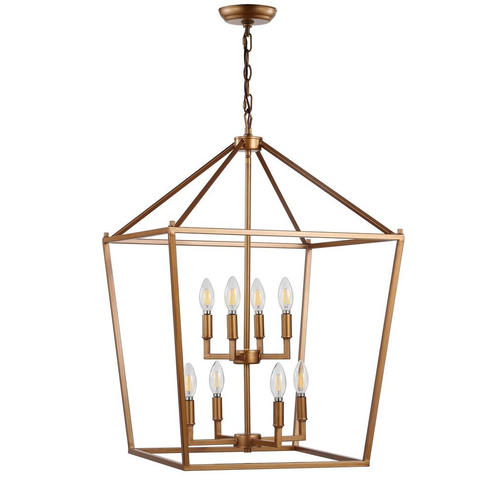 20 Pagoda 8 Bulb Lantern Metal Led Pendant Antique Gold - Jonathan Y
