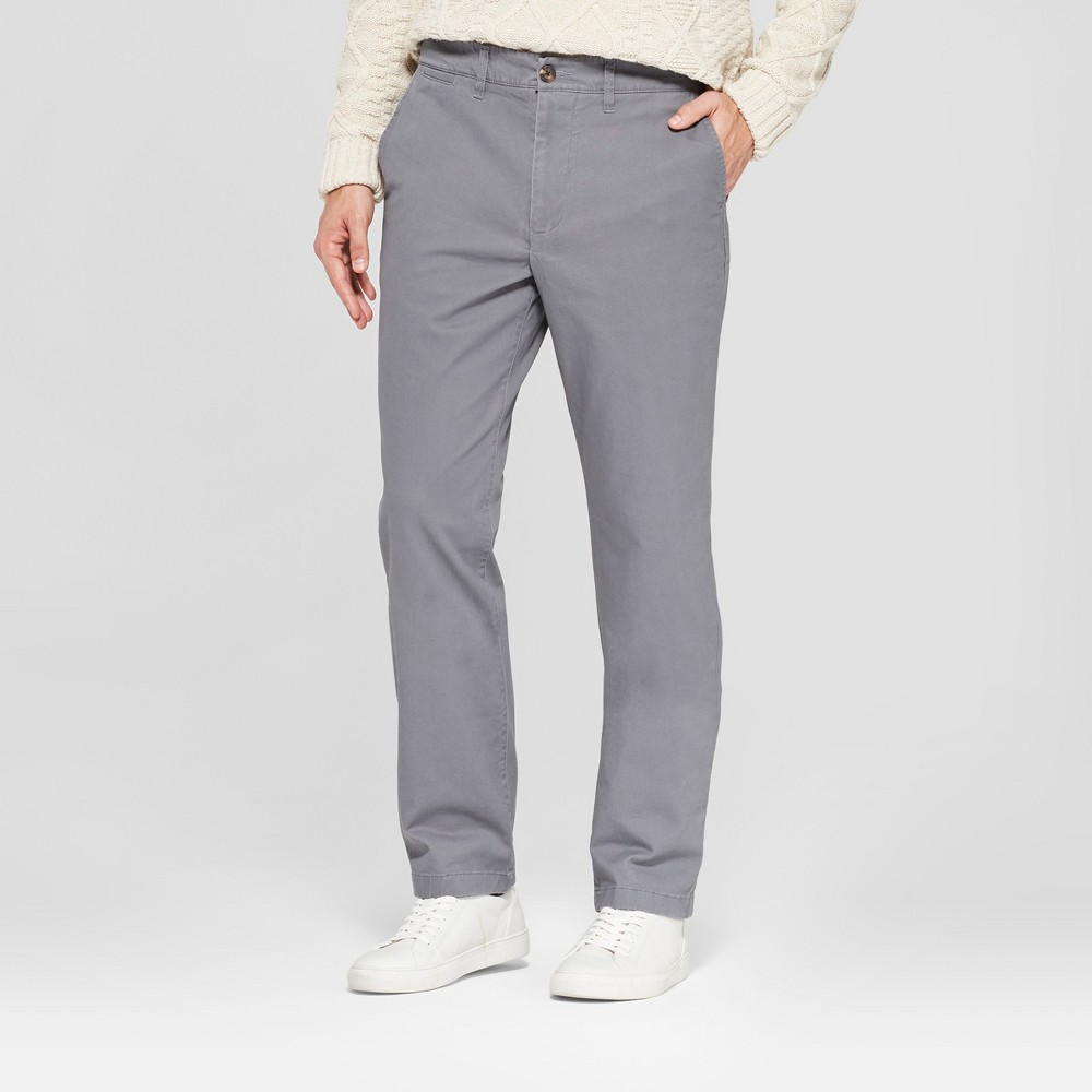 Men's Straight Fit Hennepin Chino Pants - Goodfellow & Co Dark Gray 32x34
