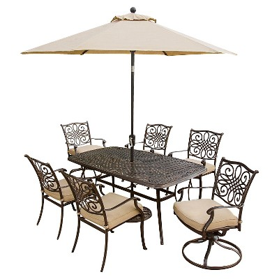 Patio furniture dining sets with umbrella Round Hanover Outdoor Furniture Traditions Pc Outdoor Dining Set Of Four Dining Chairs Two Swivel Chairs Dining Table Umbrella And Base Target Hanover Outdoor Furniture Traditions Pc Outdoor Dining Set Of