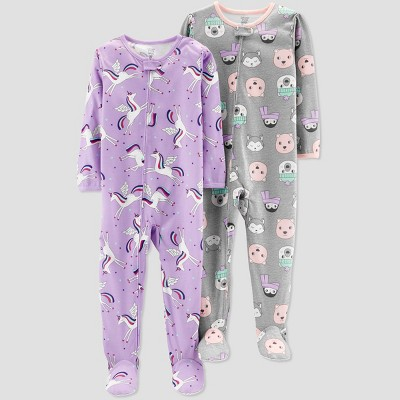 Baby Girls' Unicorn Poly Pajama Set - Just One You® made by carter's Purple 18M