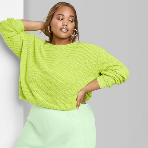 Women's Plus Size Crewneck Sweater - Wild Fable™ Sparkling Green - image 1 of 3