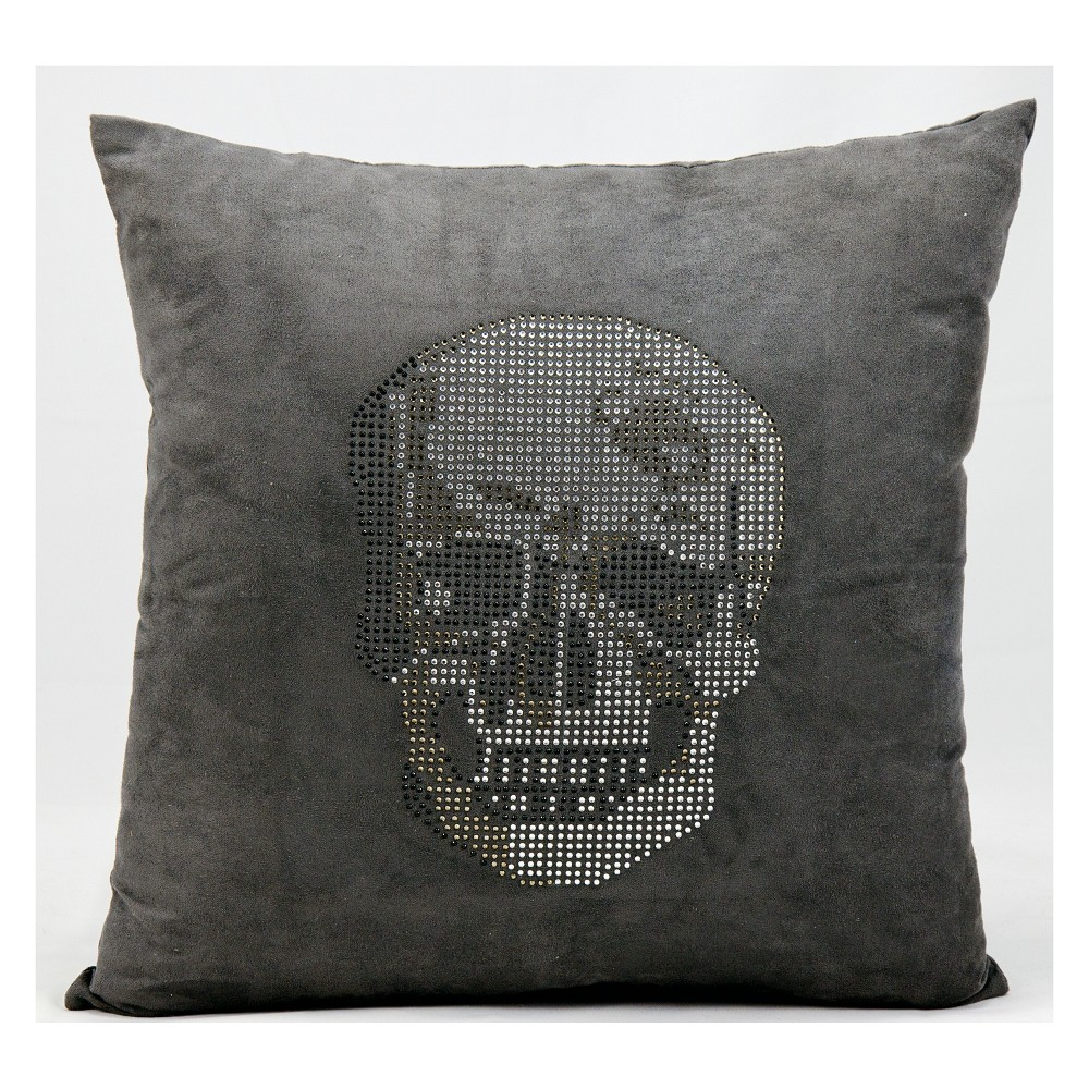 Image of Luminecence Rhinestone Skull Dark Square Throw Pillow Dark Gray - Mina Victory