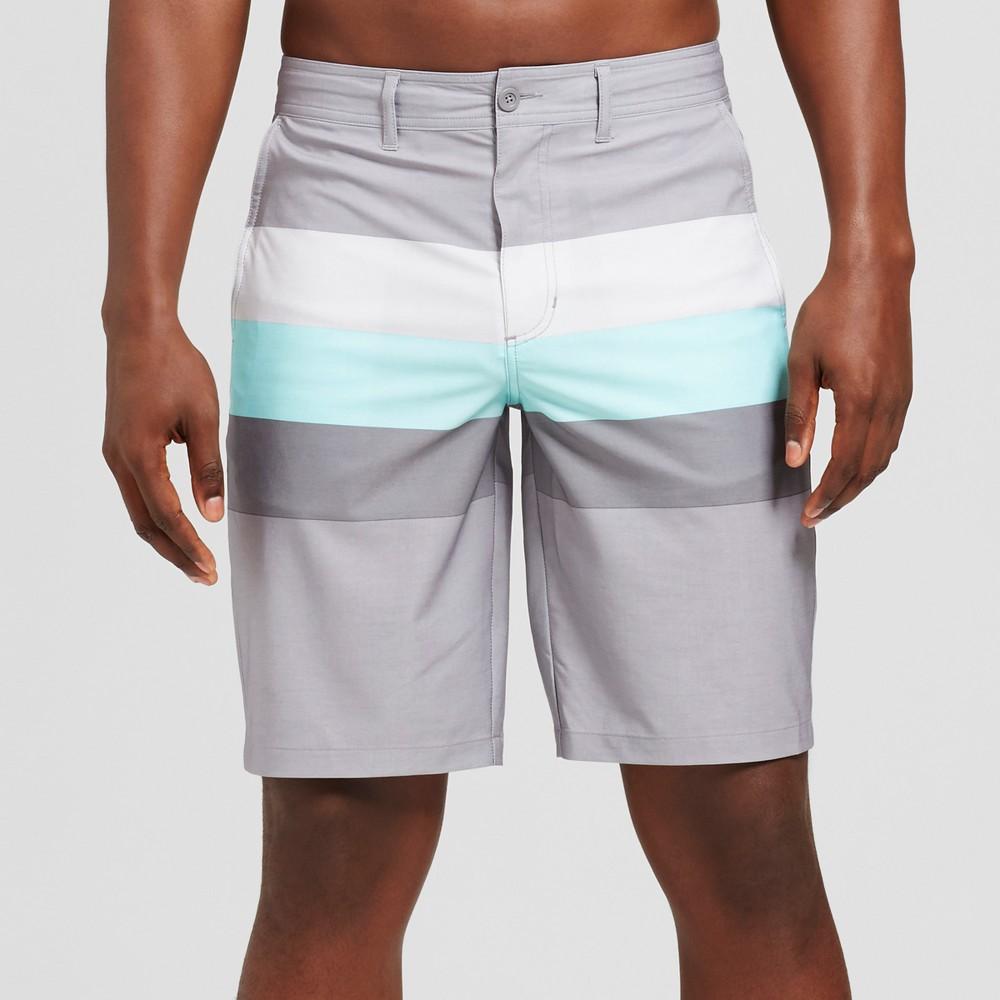 Men's 10.5 Triton Stripe Hybrid Shorts - Goodfellow & Co Gray 28