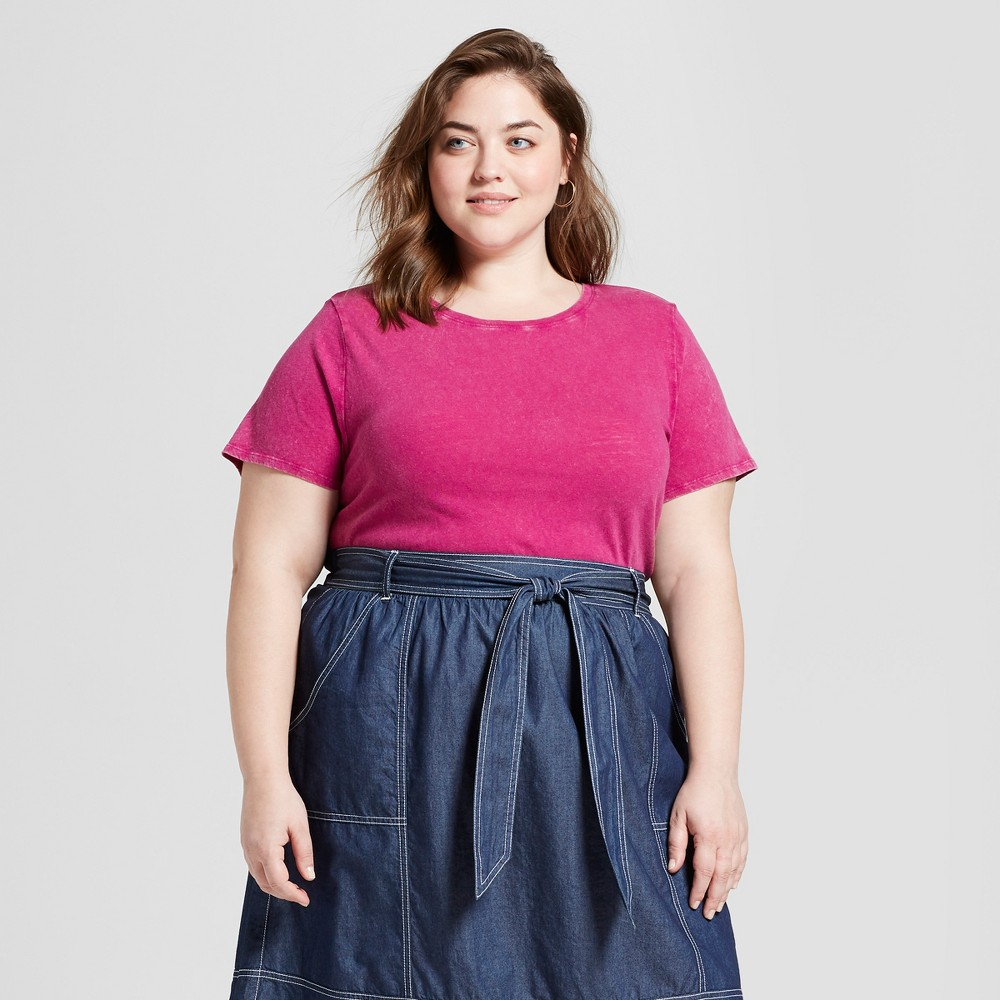Women's Plus Size Meriwether Crew Neck Short Sleeve T-Shirt - Universal Thread Pink 4X