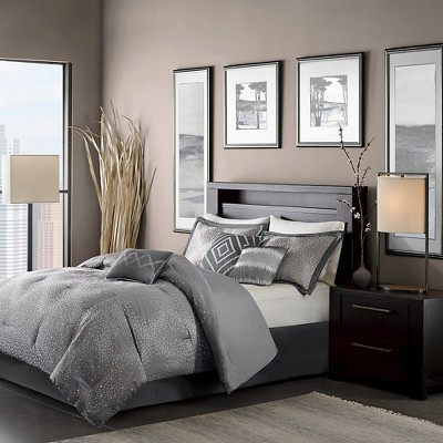Gray Garner Modern Diamond Multiple Piece Comforter Set (California King)- 7 Piece