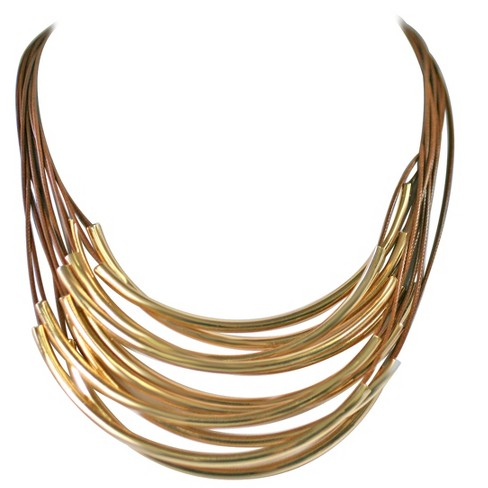 "Zirconite Multi-Strand Layered Leather Cord with Metal Tubes Draped Necklace - 18"" - Brown/Gold - image 1 of 1"