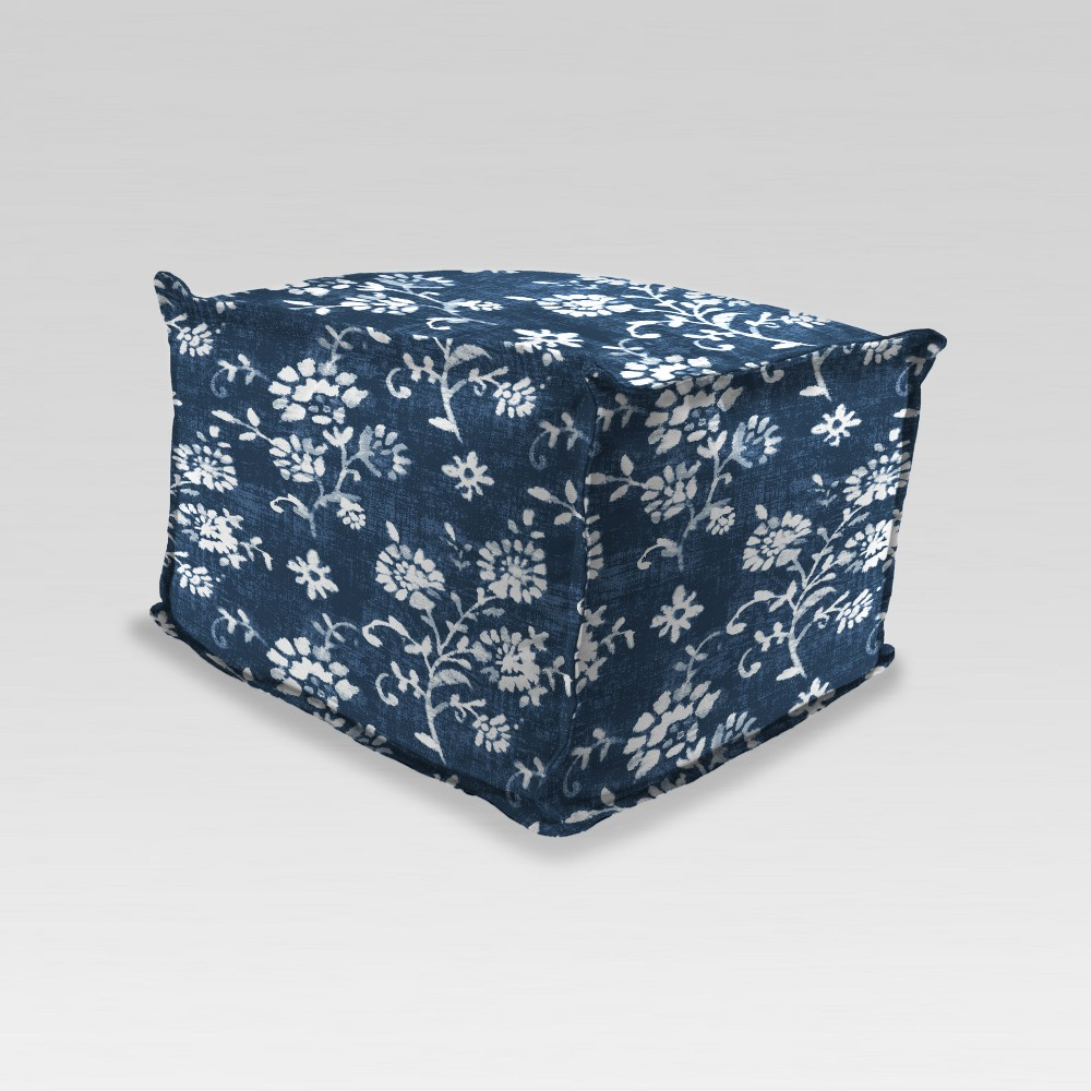 Outdoor Boxed Edge Pouf/Ottoman - Navy Floral - Jordan Manufacturing