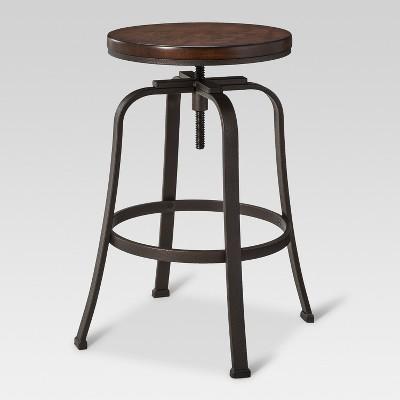 Dakota Adjustable Wood Seat Barstool Antique Hammered - Threshold™
