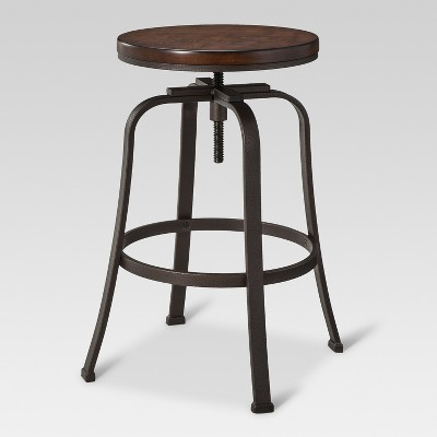 Dakota Adjustable Wood Seat Barstool   Threshold™