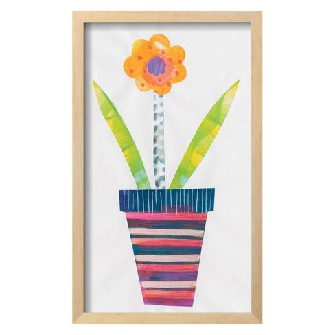 "Collage Flower II By Melissa Averinos Framed Wall Art Poster Print 13""x21"" - Art.com - image 1 of 3"