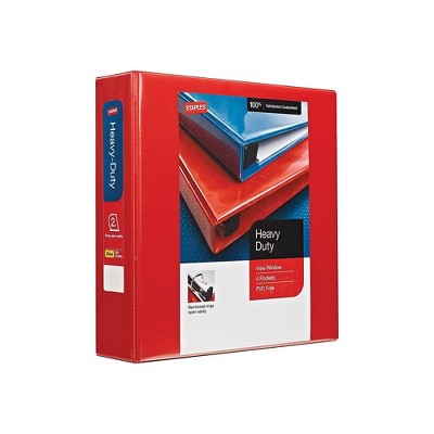 Staples Heavy-Duty 2-Inch D 3-Ring View Binder Red (26348) 56297-CC/26348
