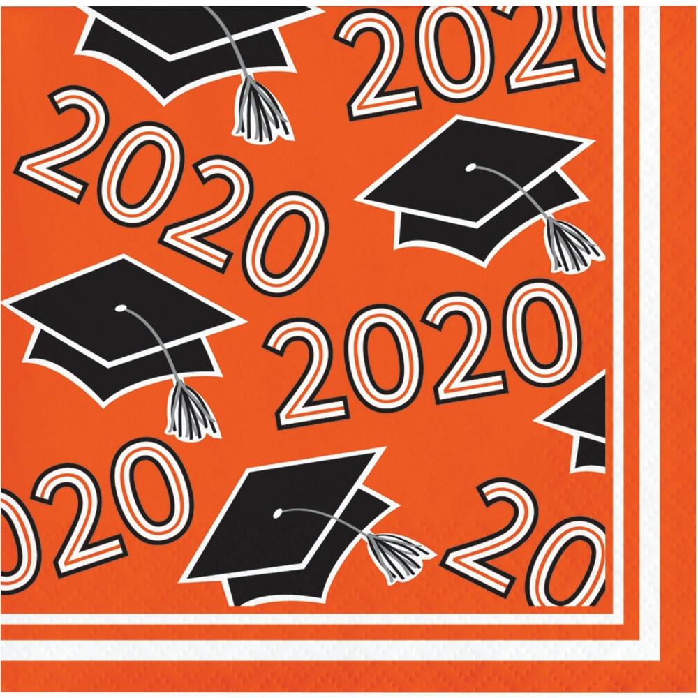 Image of 108ct Class Of 2020 Grad Beverage Napkins Orange