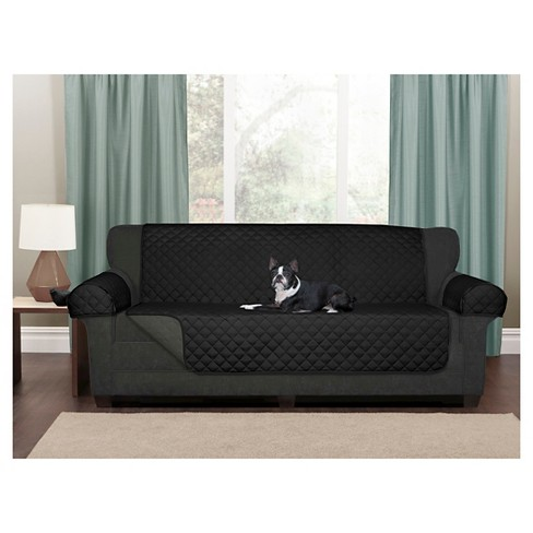 Black Reversible Pet Cover Microfiber Sofa Slipcover - Maytex : Target