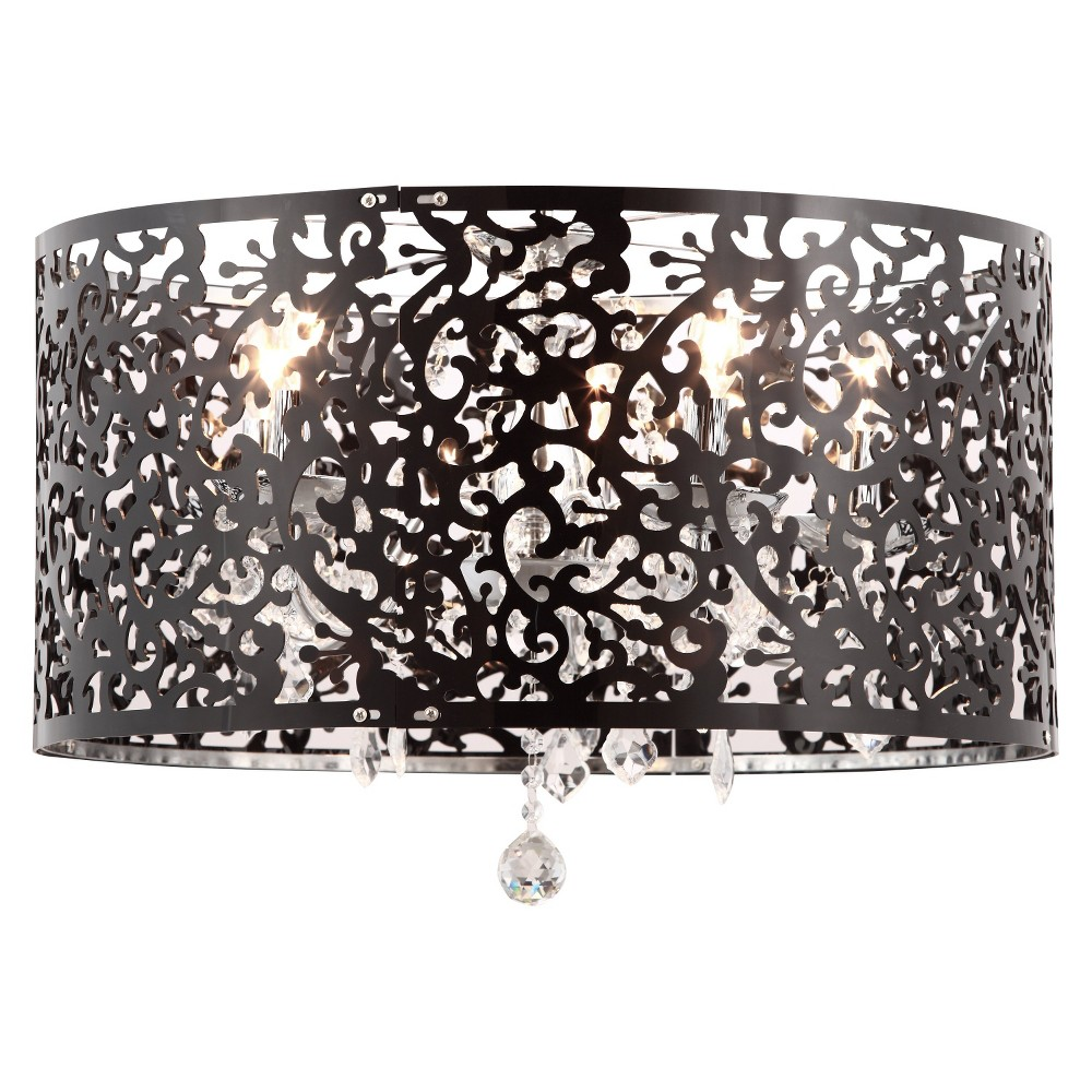 French Creole Inspired Black and Chrome Ceiling Lamp - ZM Home